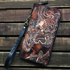 Black Handmade Tooled Chinese Dragon Leather Long Biker Wallet Chain Wallet Clutch Wallet For Men