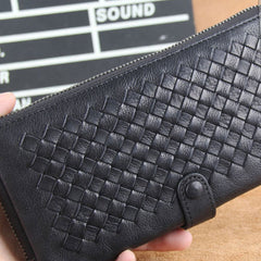 Genuine Leather Mens Cool Braided Wallet Long Leather Wallet Clutch Wristlet Wallet for Men