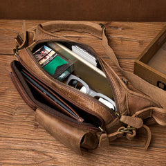 Cool Khaki Mens Leather Fanny Pack Mens Waist Bag Hip Pack Belt Bags Bumbag for Men