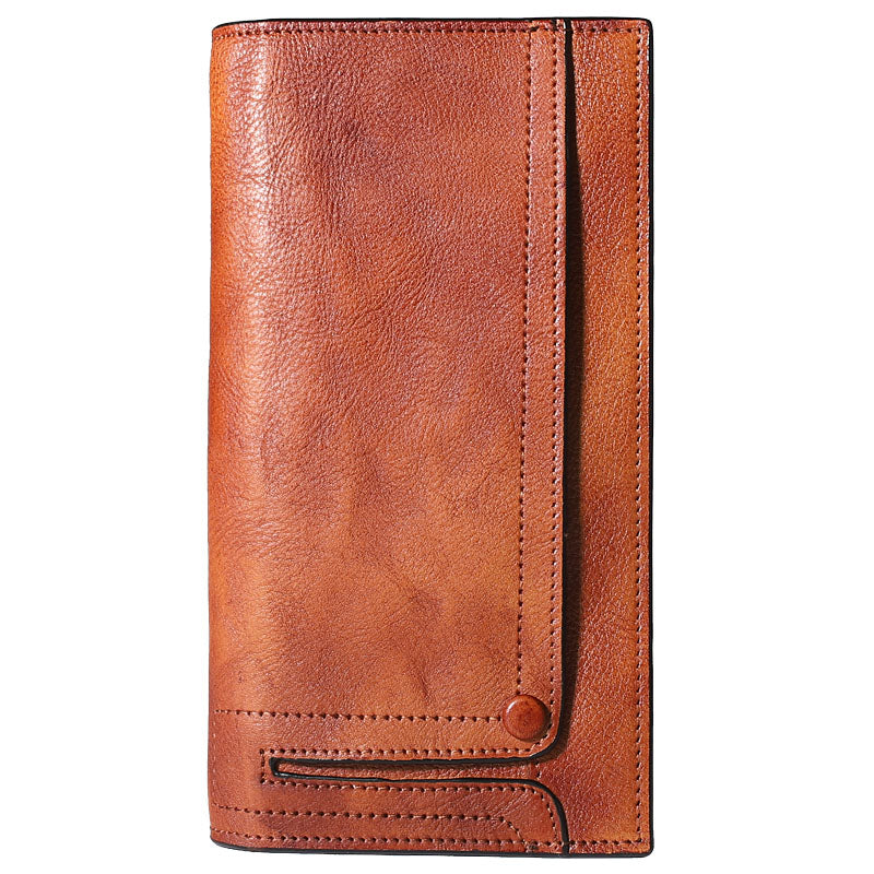 Cool Leather Brown Mens Long Wallet Gray Buckled Long Wallet Bifold Clutch Wallet Card Wallet for Men