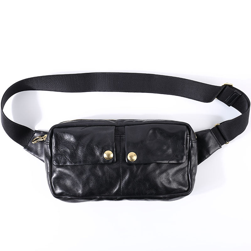 Black Cool Leather Men Fanny Pack Waist Bag Hip Pack Chest Bag Coffee Belt Bag Bumbag for Men
