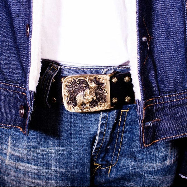 Handmade Genuine Leather Punk Rock Elephant Mens Cool Men Biker Trucker Leather Belt