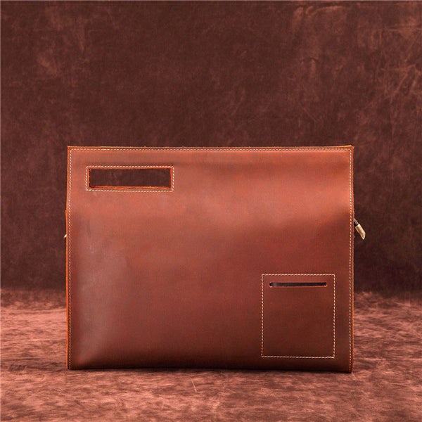 Dark Brown MENS LEATHER SLIM CLUTCH ENVELOPE BAG CLUTCH BAG FOR MEN