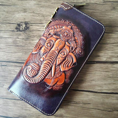 Black Handmade Tooled Tang Lion Leather Long Wallet Zipper Wallet Clutch Wallet For Men