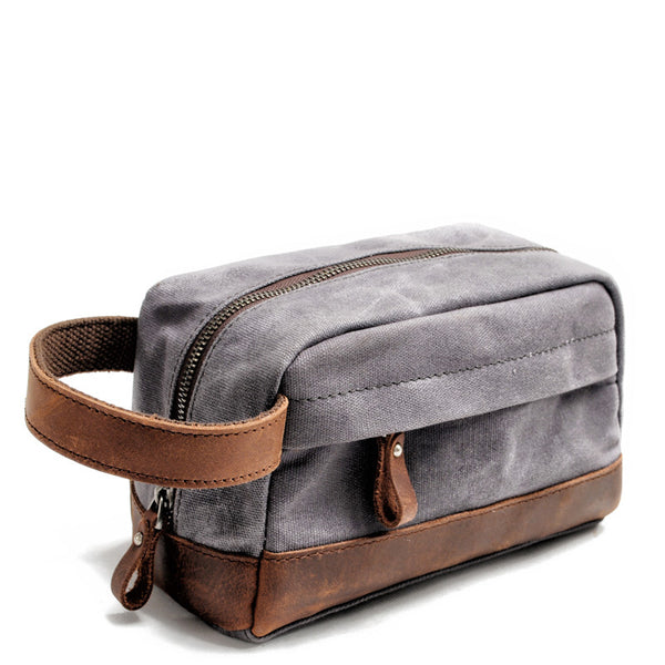Cool Canvas Leather Mens Clutch Bag Handbag Storage Bag Wash Bag For Men