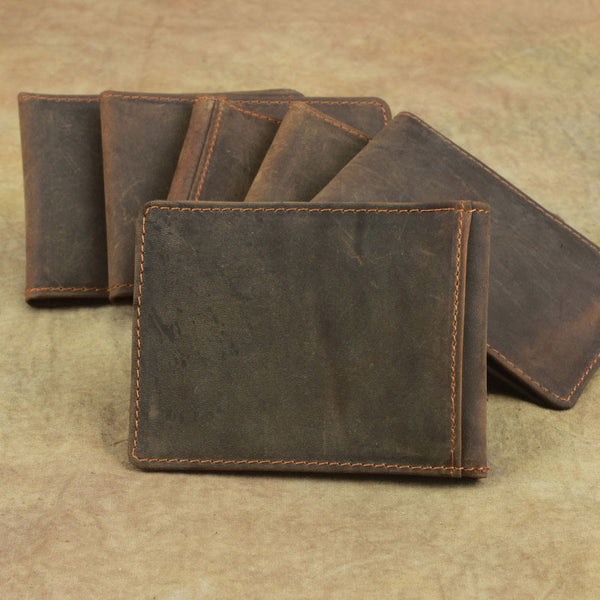 Cool Dark Brown Leather Mens Small Bifold Wallet Short Wallet License Wallet for Men