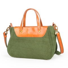 Canvas Leather Womens Handbag Messenger Bag Side Bag for Women