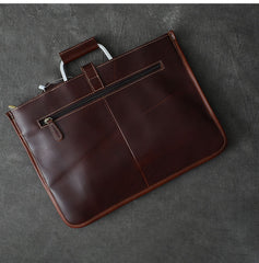 Leather Mens Dark Brown Briefcase 13'' Laptop Bag Red Brown Side Bag Handbag For Men