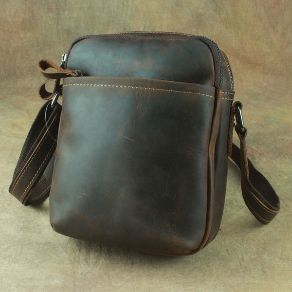Cool Leather Mens Small Messenger Bag Tablet Side Bag Shoulder Bags For Men