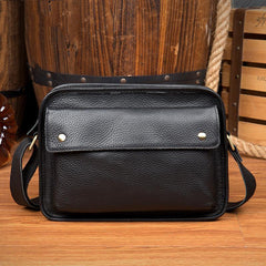 Cool Black Leather 10 inches Small Postman Bags Messenger Bag Courier Bag for Men