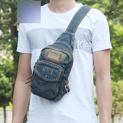 Fashion Jean Blue Mens Sling Bag Chest Bags Denim Sling Pack One Shoulder Backpacks For Men