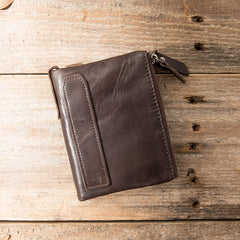 Brown Leather Mens Bifold Wallet Brown Small Wallet Front Pocket Wallet billfold Wallet for Men