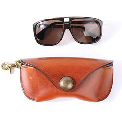 Handmade Mens Cool Brown Leather Glasses Case Glasses Box Glasses Holder Sunglasses Case for Men