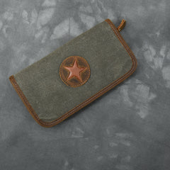 Brown Canvas Mens Long Wallet Zipper Green Clutch Phone Wallet For Men