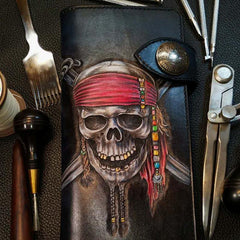 Badass Leather Men's Pirate Skull Long Biker Wallet Handmade Tooled Biker Chain Wallets For Men