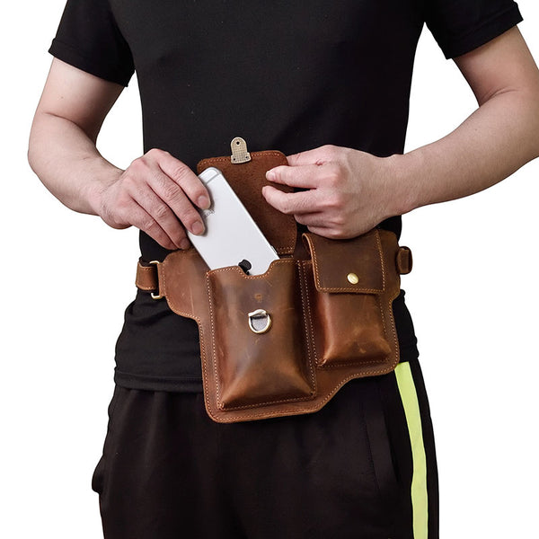 Cool LEATHER MENS FANNY PACK FOR MEN BUMBAG  CELL PHONE HOLSTER WAIST BAG for Men