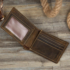 Cool Dark Brown Leather Mens Small Wallet Bifold Slim billfold Wallets for Men