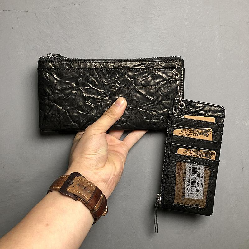 Cool Leather Mens Black Zipper Wallet Long Leather Wallet Clutch Wristlet Wallet for Men