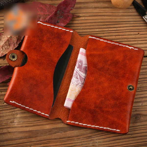 handmade leather mens cool slim leather wallet men small