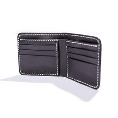 Black Handmade Leather Mens billfold Wallet Bifold Black Front Pocket Wallet Small Wallet For Men