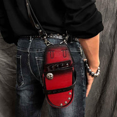 Black Badass Mens Leather Waist Bag Side Bag Red Hairstylist Tool Barber Pouch Blue Scissor Case for Men