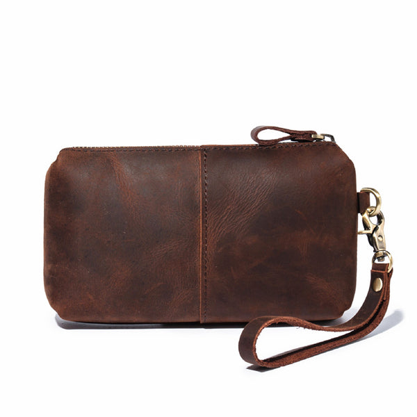 Brown MENS LEATHER ZIPPER CLUTCH WRISTLET PURSE BAG CLUTCH Wallet FOR MEN