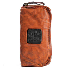 Handmade Leather Mens Cool Black Long Leather Wallet Brown Zipper Clutch Wallet Phone Bag for Men
