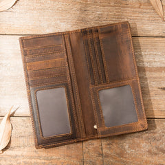 Cool Leather Mens Brown Bifold Long Wallets Long Wallet Clutch Card Wallet for Men