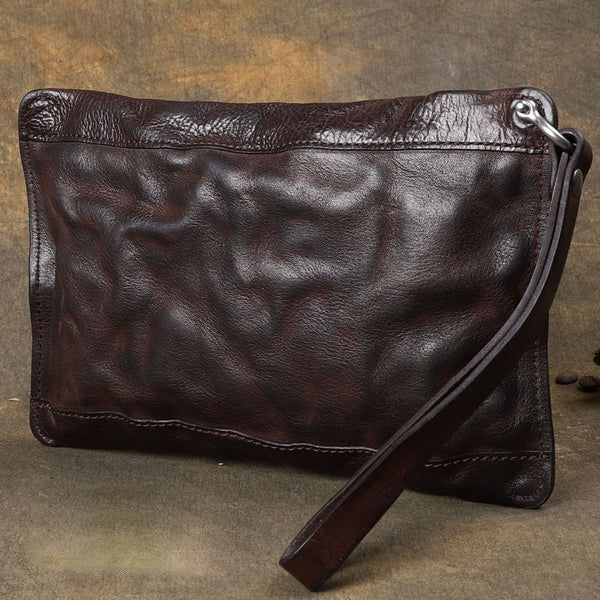 Cool Wrinkled Leather Mens Brown Long Wallet Wristlet Wallet Black Clutch Wallet for Men