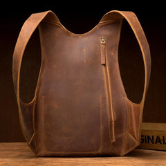 Cool Brown Leather Mens 13 inches Sport Backpack School Backpack Travel Backpack for Men