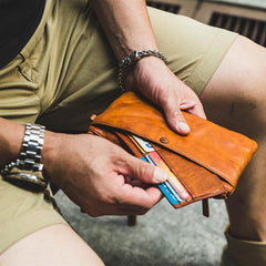 Cool Tan Leather Mens Long Wallet Clutch Wallet Black Wristlet Long Wallet Phone Wallet For Men