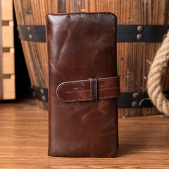 Brown Vintage Mens long Wallet Bifold Long Wallet Clutch Wallet Long Wallets for Men
