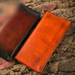 Handmade Leather Mens Clutch Wallet Cool Leather Wallet Long Phone Wallets for Men