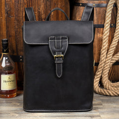 Black Fashion Mens Leather 14-inch Computer Backpack Brown Side Bag Messenger Bag for men