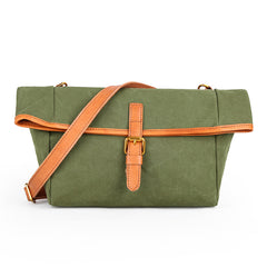 Canvas Leather Mens Womens Small Brown Messenger Bag Shoulder Bag Green Side Bag for Men