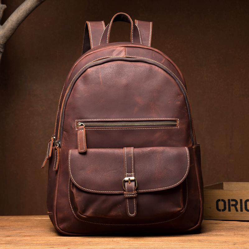 Fashion Brown Mens Leather 14-inch Large Laptop Backpacks Brown Travel Backpacks School Backpack for men