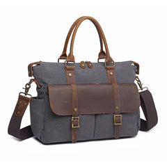 Canvas Leather Mens Womens Handbag Briefcase Bag Side Bag Travel Bag for Women