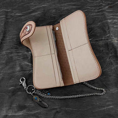 Handmade Beige Tooled Leather Men's Bifold Long Wallet Cool Biker Chain Wallet For Men