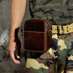 Mens Leather Small Belt Pouch Side Bag Waist Pouch Holster Belt Case for Men