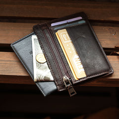 Ultra Thin Leather Mens Front Pocket Wallet Slim Short Wallet License Small Wallet For Men