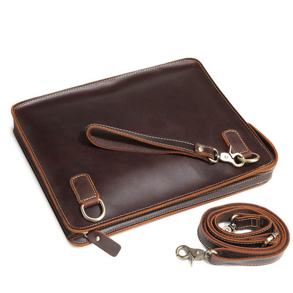 Classy Leather Mens Work Clutch Bag Wirstlet Cluch Messenger Bag For Men