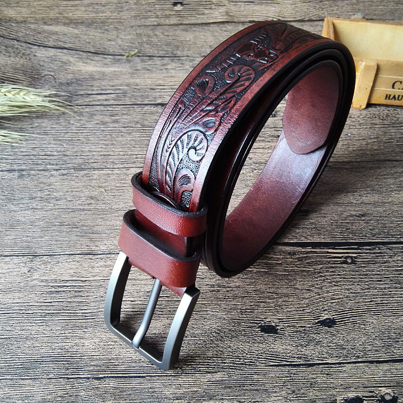 Cool Handmade Brown Floral Tooled Leather Mens Belt Coffee Leather Belts for Men