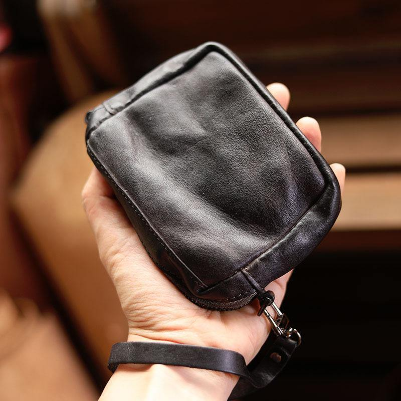 Cool Black Leather Mens Card Short Wallet Coin Purse Wirstlet Zipper Small Wallet For Men