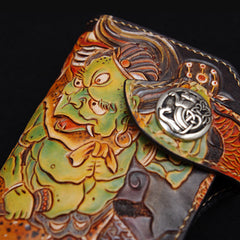 Handmade Leather Tooled Thunder God Mens Chain Biker Wallet Cool Leather Wallet With Chain Wallets for Men