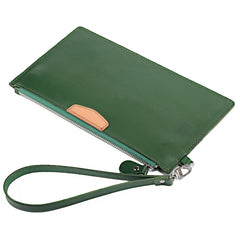 Oiled Leather Men's Yellow Ultra Slim Wristlet Wallet Zipper Multiple Purse Wallet Phone Bag For Men