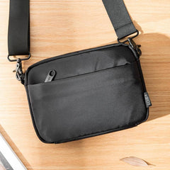Casual Black Mens NYLON Mini Chest Bag Postman Bag Black Small Messenger Bags Side Bag for Men