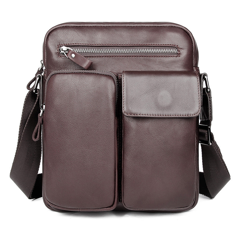 Black Cool Leather Large Zipper Messenger Bag Vertical Brown Side Bag For Men
