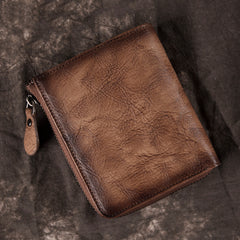 Brown Vintage Bifold Wallet Leather Mens billfold Small Wallet Zipper Small Wallet For Men