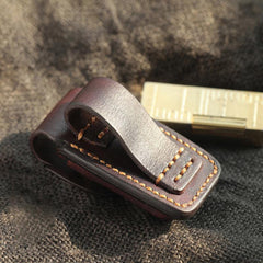 Dark Coffee Handmade Leather Mens Dunhill Lighter Case Cool Lighter Holders For Men