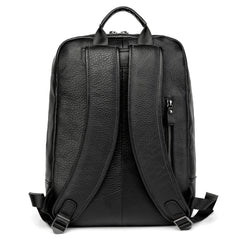 Black Leather Men's 14 inches Computer Backpack Large Travel Backpack Black Large College Backpack For Men